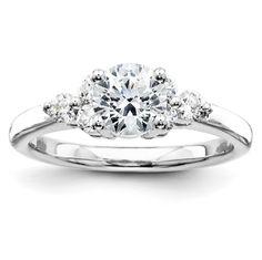 14k White Gold Diamond Engagement Ring Mounting