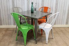Introducing our fantastic range of vintage industrial style cafe and restaurant Tolix tables. A fantastic opportunity to solve most restaurant problems...