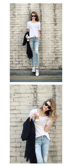 The Basic Tee in white goes perfect with ripped jeans and literally everything else!