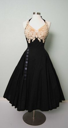 1950s Peggy Hunt Cotton Halter Dress with Lace Illusion Bodice - Fit and Flare - Pretty Details {Repin}
