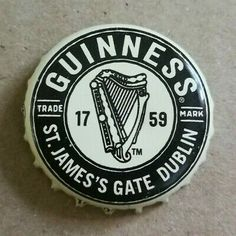 Beer bottle cap from - Guinness brewery. Beer Bottle Caps, Bottle Top, Guinness Brewery, Pale Ale Beers, Guinness Draught, Beer Mats, Beer Coasters, Ribbon Sculpture, Boutique Bows