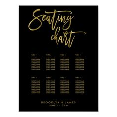 Black And Gold Wedding Seating Chart Gold Wedding Favors, Wedding Reception Signs, Gold Wedding Theme, Wedding Favor Tags, Wedding Rsvp, Thank You Postcards, Save The Date Postcards, Seating Chart Wedding, Seating Charts