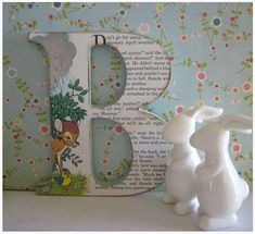 letters covered with pages from a children's book - could be a cute DIY thing for the nursery.maybe pages from a children's bible? Origami, Crafts To Make, Crafts For Kids, Deco Pastel, Craft Projects, Projects To Try, Sewing Projects, Wooden Letters, Baby Letters