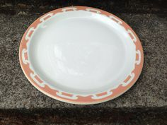 "Wallace China Large Plate Restaurant ware 11"" White Salmon Stencil on Etsy, $8.50"