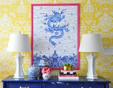Blue and white with David Hicks The Vase wallpaper and large scale Imperial Dragon giclee. The Pink Pagoda: Blue and White with The Pink Clutch Chinoiserie Wallpaper, Chinoiserie Chic, Bold Wallpaper, Wallpaper Designs, Wallpaper Ideas, Beach Chic Decor, Imperial Dragon, Clarence House, Pink Clutch