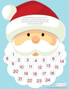 Printable Santa Beard Advent Calendar by AlwaysLovebyJaclyn Santa Countdown, Christmas Countdown Calendar, Advent Calendars For Kids, Kids Calendar, Calendar Printable, Easy Christmas Crafts For Toddlers, Xmas Crafts, Christmas Projects, Kids Christmas