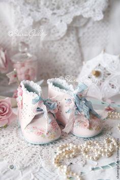 """Купить Винтажные, Детские ботиночки """"Sweet Baby"""". - розовый, ручная работа, авторская работа, праздники"""