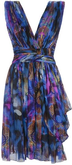 I swoon over these colors;  Pleated Silk Printed Dress