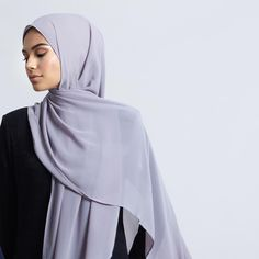 INAYAH | Simplicity inspired by modern minimalism: Black Rib #Maxi with #Leggings + Lilac Grey Soft Crepe #Hijab - www.inayah.co