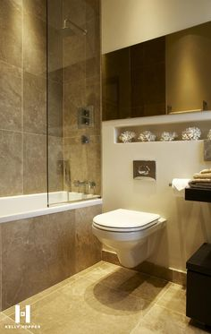 recessed shower allowing for floating toilet Washroom Design, Bathroom Interior Design, Family Bathroom, Master Bathroom, Contemporary Bathrooms, Modern Bathroom, Floating Toilet, Kelly Hoppen Interiors, Dark Wood Cabinets