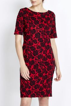 Red Floral Jacquard Dress