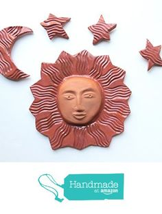 Sun Moon and Stars Terracotta Ceramic Wall Sculpture with Simple Clear Glaze from Cosmic Mermaid http://www.amazon.com/dp/B01F80A29K/ref=hnd_sw_r_pi_dp_7Tolxb0PWG9GQ #handmadeatamazon