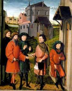 The fish-miracle of St. Ulrich and the messenger gives the fish to the duke in Scenes from the Life of St. Ulrich, 1450-1455
