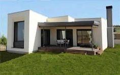 Valores desde 17 UF/m2: Casas de estilo mediterraneo por green planet Modern Tropical House, Modern Small House Design, Minimalist House Design, Modern House Plans, New Home Designs, Home Design Plans, Flat Roof House, Casas Containers, Round House