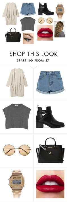 """my style."" by barbara-fgr ❤ liked on Polyvore featuring Monki, Boohoo, Miu Miu, Pull&Bear, River Island, MICHAEL Michael Kors and Casio"