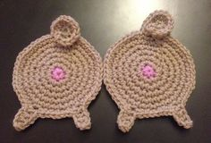 Hand crochet pug/pig butt coasters are about 3.5 inches in diameter, excluding legs and curly tail. This ad is for 1 coaster. $10.00