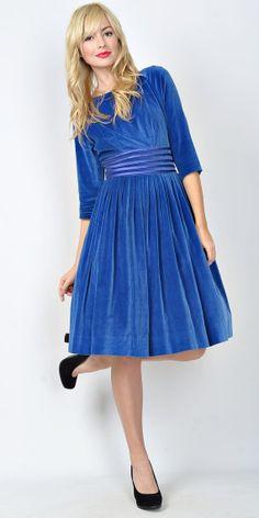 Vintage 60s Blue Velvet Cocktail Dress Party by thekissingtree