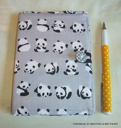 Notebook A6 Hardback Journal Panda Fabric by Mastersandmatthews