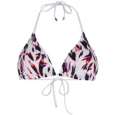 Paul Smith Women's White 'Painterly Camo' Print Triangle Bikini Top ($78) ❤ liked on Polyvore featuring swimwear, bikinis, bikini tops, bikini top, bikini bottoms, clear bikinis, strappy bikini and triangle bikini top