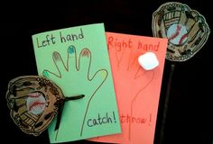 """Paper lacing mitt attached to folded sheet of construction paper. Decorated with glitter.  Used pastels for the baseball in the glove.  """"Left hand catch (outside).  Right hand throw (inside)!""""  Reversed of course if the child is a lefty."""