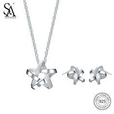 SA SILVERAGE 925 Silver Jewelry Sets Stud Earrings Necklaces Pendants Fine Jewelry 925 Sterling Silver Pendant Necklace Earrings