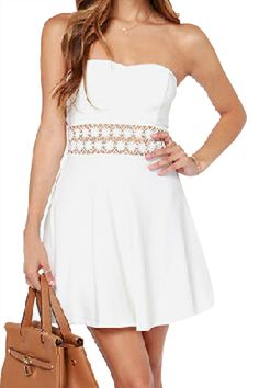 f86a25e579 abaday Off Shoulder Lace Crochet White Dress - Fashion Clothing