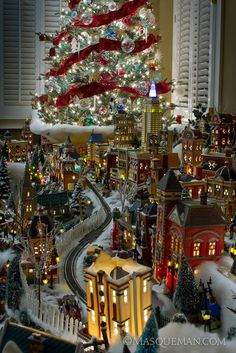 Miniature Christmas Village with train Christmas Village Display, Christmas Town, Christmas Scenes, Christmas Villages, Noel Christmas, Winter Christmas, Christmas Lights, Vintage Christmas, Christmas Decorations