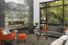 Gorgeous #fireplace in a contemporary living room