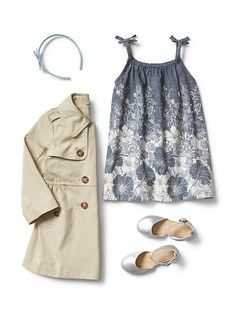 Gap Little Girls Spring Dress & Khaki Coat