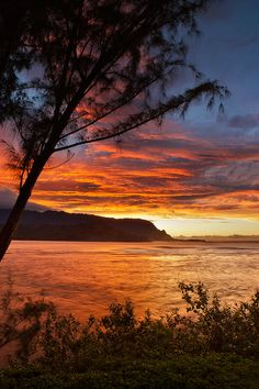 Sunset Hanalei Bay, Kauai, #Hawaii -for #travel info,tips and inspiration, visit itsoneworldtravel.com