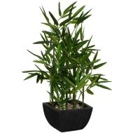 Several brown stems contain numerous slim green leaves with this bamboo artificial plant. You can upgrade your established dcor in your home or office by adding this artificial plant in the mix. To create a tropical look in your home, place it on a k
