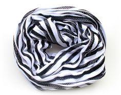 Black & White Striped Infinity Scarf