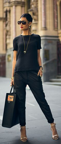Simple t and pants elevated with accessories ...and attitude