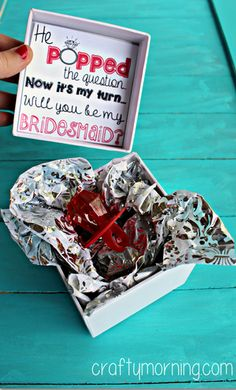 """""""He Popped The Question..."""" Bridesmaid Ring Pop Idea + Free Printable Tag #How to ask your bridesmaids to be in your wedding 