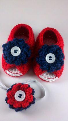 Red White & Blue Crochet Baby Cross Strap Sandals by HandmadeReverie