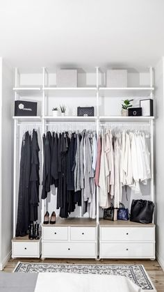 New Tiny Bedroom Storage Clothes Closet Organization Ideas Ikea Closet Design, Ikea Closet Hack, Ikea Closet Organizer, Closet Hacks, Closet Designs, Closet Storage, Closet Organization, Ikea Open Wardrobe, Pax Wardrobe