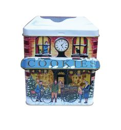 The Silver Crane Company Christmas Tins Small Canopy Winter Cookie Shop in Home, Furniture & DIY, Home Decor, Boxes, Jars & Tins Antique Christmas, Vintage Holiday, Small Canopy, Tin Can Alley, Tin House, Christmas Labels, Box Houses, Tin Containers, Vintage Tins