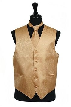 Men's Gold Paisley Vests with Neck Tie are a must-have when you need to look dashing for a wedding, prom, or for any other formal occasion. These paisley vests feature a sophisticated tone-on-tone pai