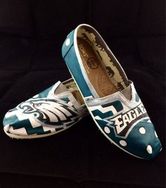 Custom hand painted Philidelphia Eagles Toms by HaloHouse on Etsy