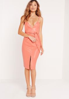 Missguided - Faux Leather Strappy Bodycon Dress Salmon