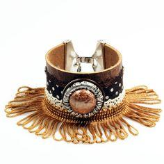 Cabujón de cuero del pun ¢ o marrón concho - occidental, gypsy, cinta de lunares de estilo - franja de oro marrón - hippie -, Swarovski Crystal