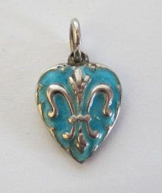 Vintage C1940's Sterling Aqua Enamel Fleur De Lis Puffy Heart Charm..