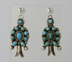 a8b772899 Vintage Zuni Indian Turquoise Cluster Squash Blossom Earrings by Oldndnshop  on Etsy