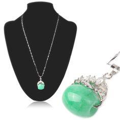 [$3.98] Cylindrical Malay Jade Pendant Slender Necklace with Rhinestones Neck Decor Jewelry for Lady