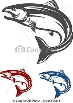 Vector Clip Art of Salmon fish - Jumping salmon fish in retro ...