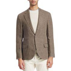 Brunello Cucinelli Stripe Linen Jacket ($2,525) ❤ liked on Polyvore featuring men's fashion, men's clothing, men's outerwear, men's jackets, mens jackets, mens brown jacket, mens linen jacket and mens striped jacket