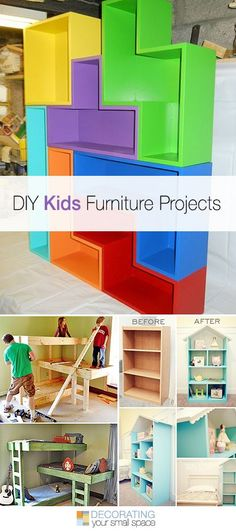 Diy Furniture : DIY Kids Furniture Projects Lots of ideas & tutorials! Diy Kids Furniture, Furniture Projects, Home Projects, Furniture Dolly, Cheap Furniture, Furniture Nyc, Furniture Stores, Furniture Design, Bedroom Furniture
