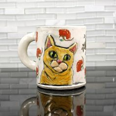 Tabby Cat Mug orange cat coffee mug tea cup with by hadleyclay