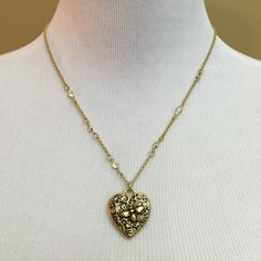 "Grove Bee Heart Necklace This filigreed, antiqued matte gold heart and bee pendant with cut crystals is a perfect keepsake. Also has a special bee charm at the end of the extender. 18-21"" new with tags and gift box! Jewelry Necklaces"