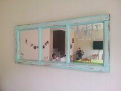 Ventana reciclada, decapada con espejos para mi living